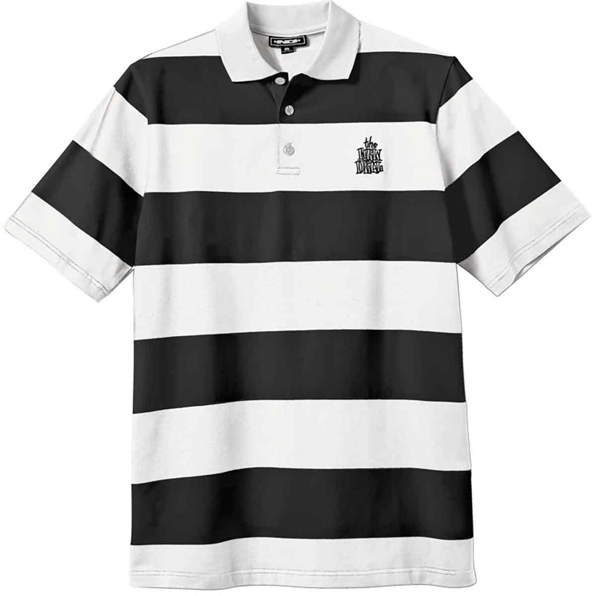 Striped Polo Tee – Black/White