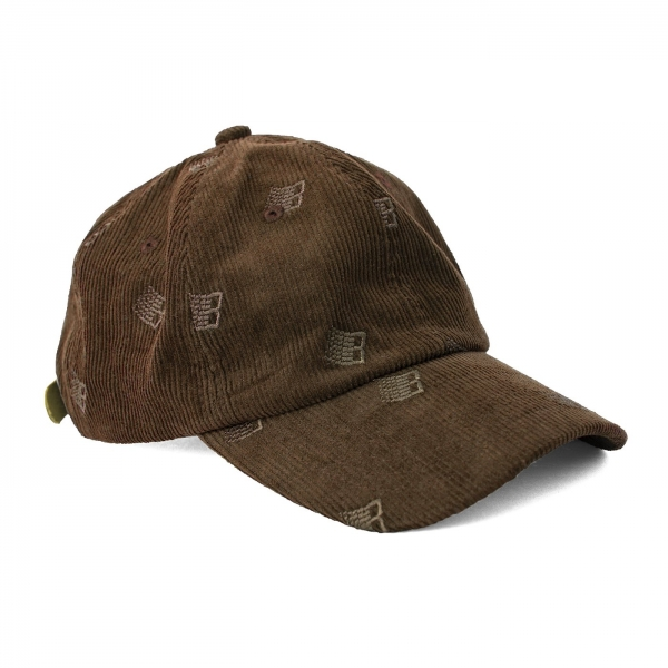 100% COTTON ALL OVER EMBROIDERED CORDUROY CAP LEATHER STRAP COMPLETE THE LOOK