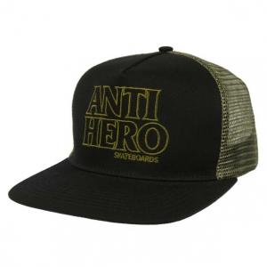 Black Hero Outline Trucker Snapback - Black/Olive